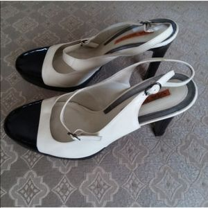 Via Spiga Mary Jane Black Sling Back Patent Heels
